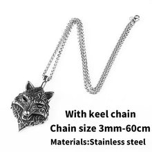 Load image into Gallery viewer, Beier 316L stainless steel Nordic Viking Amulet scandinavian wolf head Necklace Men