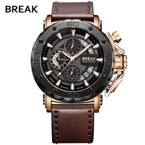BREAK Chronograph Casual Classic Watches Mens Luxury Brand Quartz Military Sport Watch Genuine Leather