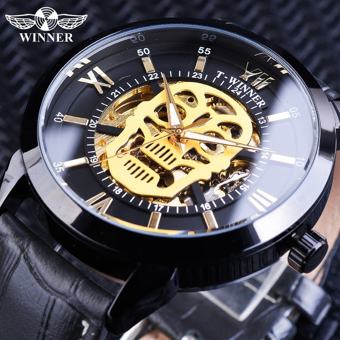 Winner Golden Skull Design Steampunk Luminous Hands Men Sport Wrist Watch Stainless Steel