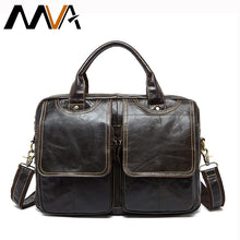 Load image into Gallery viewer, MVA Men's Briefcases men's leather male man Laptop bag 14inch business Messenger bags men Shoulder Bags Genuine Leather 8002-1
