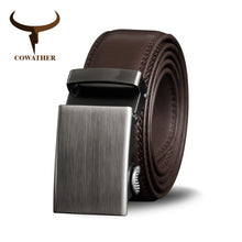 Load image into Gallery viewer, COWATHER Belt Men Cow Genuine Leather Belts for Men Cowhide Male Strap Metal Automatic Buckle High Quality Newest Male Waistband