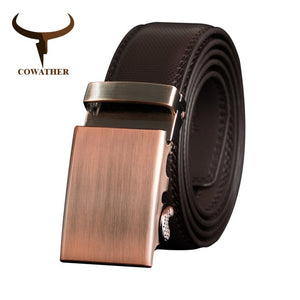 COWATHER Belt Men Cow Genuine Leather Belts for Men Cowhide Male Strap Metal Automatic Buckle High Quality Newest Male Waistband