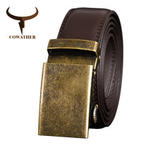Load image into Gallery viewer, COWATHER Cow Genuine Leather Belt for Men Cowhide  Belt Men Metal Automatic Buckle Male Strap Top Quality Male Waistband CZ125