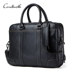 CONTACT'S Men Briefcase Genuine Leather Big Business Messenger Bags Male Casual Shoulder Bag For Laptop High Quality Handbags