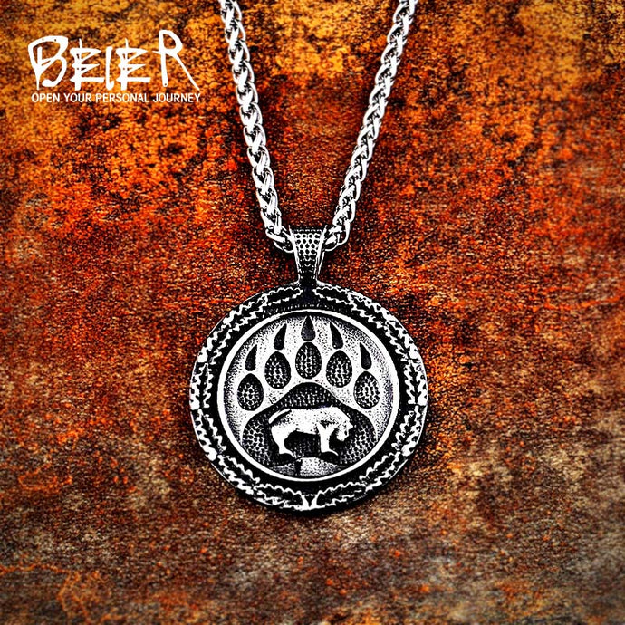 Beier 316L stainless steel Norse Viking Pendant Necklace Bear Paw Claw Amulet Odin Symbo