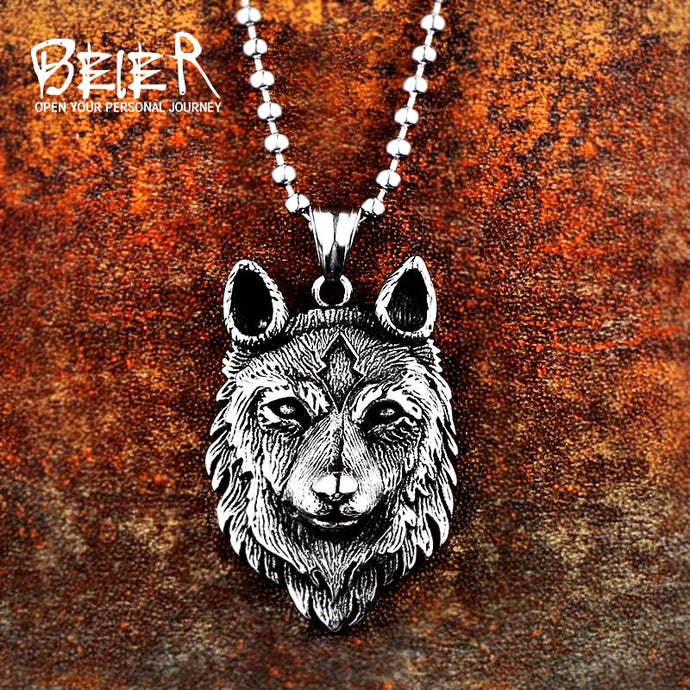 Beier 316L Stainless Steel Norse Vikings Pendant Necklace Wolf Head Necklace Men