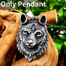 Load image into Gallery viewer, Beier 316L Stainless Steel Norse Vikings Pendant Necklace Wolf Head Necklace Men