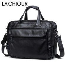 "Load image into Gallery viewer, Fashion Genuine Leather Men A4 Office Bag Handbag Business Casual Men's Travel Bag 17"" Laptop Shoulder Bags Tote Briefcase"