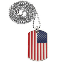 Load image into Gallery viewer, American Flag Dog Tag USA Pendant Necklace Stainless Steel Patriot Jewelry Men 3 styles