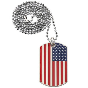 American Flag Dog Tag USA Pendant Necklace Stainless Steel Patriot Jewelry Men 3 styles