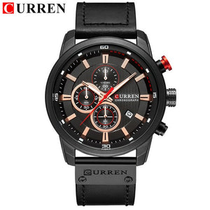 Mens Watches Top Brand Casual Waterproof ChronographGenuine Leather Sport Military CURREN 8291