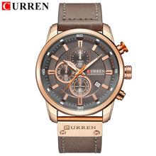 Load image into Gallery viewer, Mens Watches Top Brand Casual Waterproof ChronographGenuine Leather Sport Military CURREN 8291