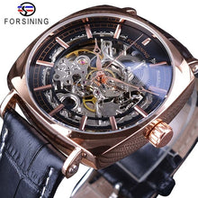 Load image into Gallery viewer, Forsining Black Genuine Leather Gold Clock Transparent Men Automatic Mechanical Watches