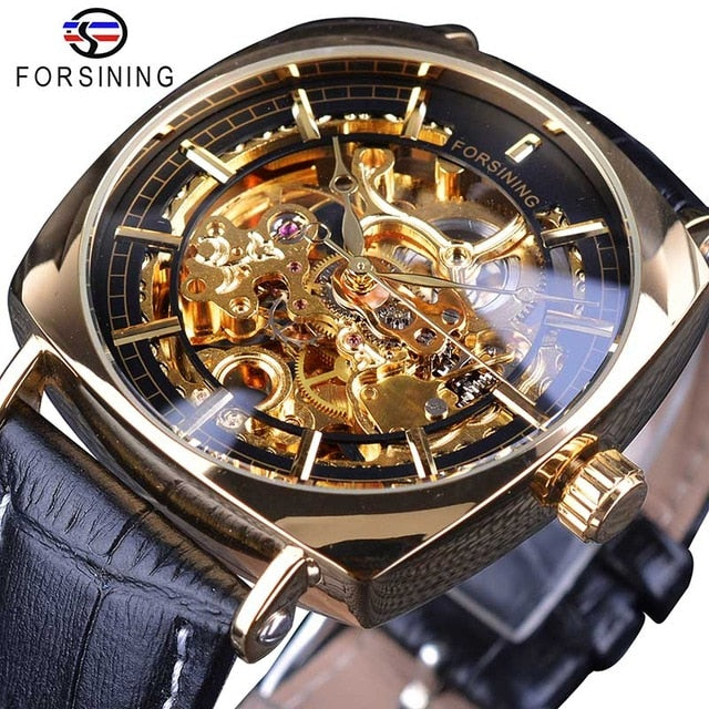 Forsining Black Genuine Leather Gold Clock Transparent Men Automatic Mechanical Watches