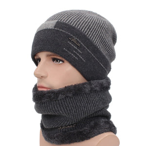 Skullies Beanies Men Scarf Knitted Warm Wool Thick Scarves Set
