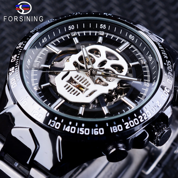 Forsining Steampunk Design Black Stainless Steel Fashion Skeleton Skull Design Luminous Mens Automatic Watches