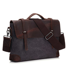 Load image into Gallery viewer, Men Briefcase Handbag Genuine Leather And Canvas Patchwork Men's Messenger Bag Vintage Brand Male Shoulder Laptop Bag Travel Bag