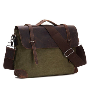 Men Briefcase Handbag Genuine Leather And Canvas Patchwork Men's Messenger Bag Vintage Brand Male Shoulder Laptop Bag Travel Bag
