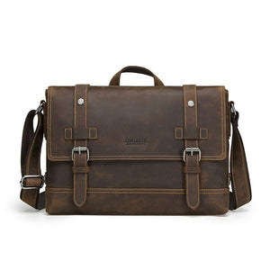 Genuine leather men's bag vintage man shoulder bags for laptop messenger bag male bolsa crossbody handbag