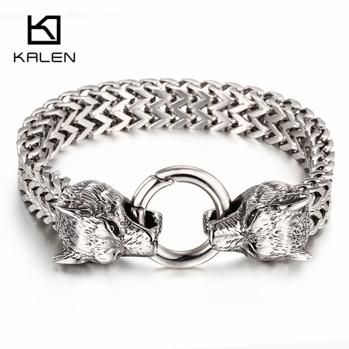 Viking Wolf Bracelets For Men Polished Stainless Steel Mesh Chain Gold Wolf Biker Jewelry