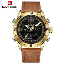 Load image into Gallery viewer, NAVIFORCE Chronograph Men Watch Sport Digital Genuine Leather LED Military Quartz