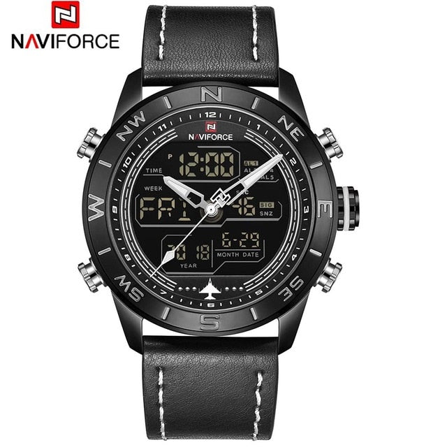 NAVIFORCE Chronograph Men Watch Sport Digital Genuine Leather LED Military Quartz