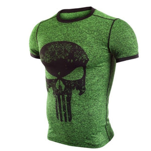 Punisher Running Shirt Men T-shirt Short Sleeve Compression Shirts Gym T Shirt Fitness Sport Shirt Mens Rashgard Soccer Jersey