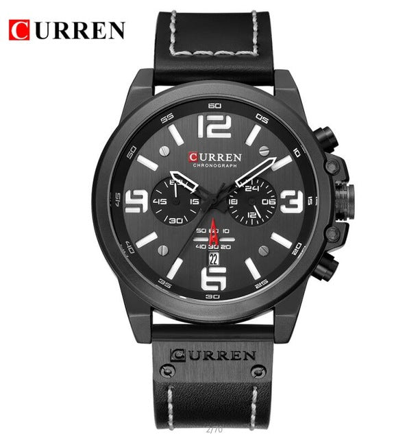 CURREN 8314 Mens Watches Top Brand Luxury Chronograph Fashion Male Clock Genuine Leather Waterproof Sport Military Wristwatch