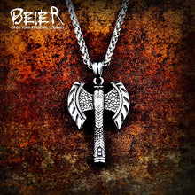 Load image into Gallery viewer, Beier 316L stainless steel Odin Axe Amulet Viking necklace pendant Men