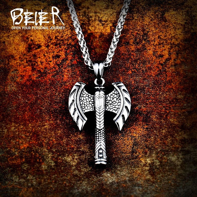 Beier 316L stainless steel Odin Axe Amulet Viking necklace pendant Men