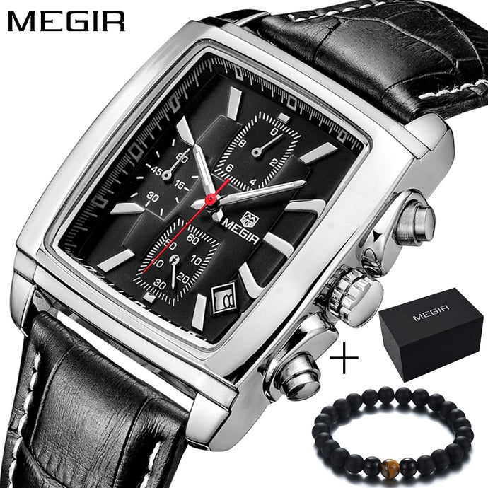 Megir top luxury brand Genuine leather rectangle Quartz-watch sports waterproof
