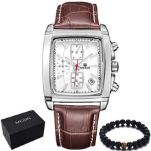 Load image into Gallery viewer, Megir top luxury brand Genuine leather rectangle Quartz-watch sports waterproof