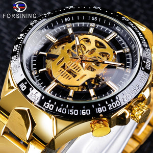 Forsining Clock Skull Black Golden Watches Open Design Mens Watches Automatic Luminous