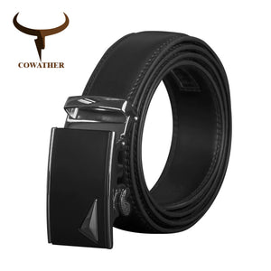 COWATHER Men Belts Cow Genuine Leather Belt For Men Automatic Buckle Male Strap Metal Buckle High Quality Leather Straps CZ131