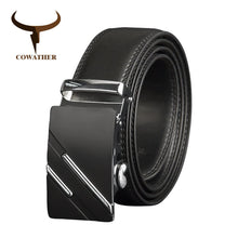 Load image into Gallery viewer, COWATHER Men Belts Luxury Cow Genuine Leather Men Belt High quality Automatic Buckle Male Strap Metal Buckle Leather Strap CZ132