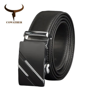 COWATHER Men Belts Luxury Cow Genuine Leather Men Belt High quality Automatic Buckle Male Strap Metal Buckle Leather Strap CZ132