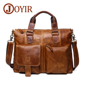 JOYIR Genuine Leather Men Bag Men Briefcases Men Messenger Bag Male Leather Business Computer Laptop Bags Crossbody Bags Handbag