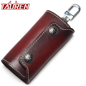 Vintage 100% Genuine Leather Key Wallet Women Keychain Covers Zipper Key Case Bag Men Key Holder Housekeeper Keys Organizer