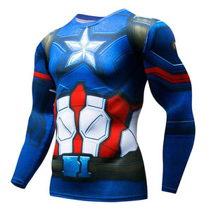 Superman Punisher Fitness Rashgard Running Shirt Men T-shirt Long Sleeve Compression Shirts Gym Wear