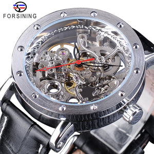 Forsining Silver Skeleton Wristwatches Black Red Black Genuine Leather Belt Automatic Watches for Men Transparent