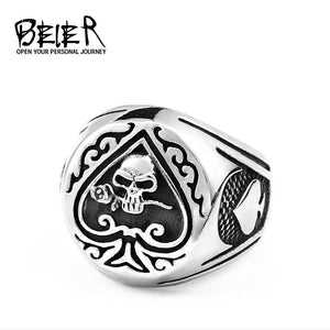 BEIER skull ring stainless steel Gothic Spade Rings Men Women Unisex