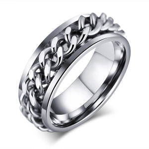 Stainless Steel Ring For Men Chain Link 8mm Wedding Rings Silver