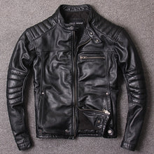 Load image into Gallery viewer, Genuine Leather Motorcycle Jacket For Men Black Superb Quality Cow Leather Coats