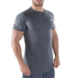 Men Short Sleeve Cotton T-shirt Man Fit sshirtSlim Printed T-Shirt Fitness Bodybuilding Workout Apparel