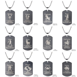 Constellation Dog Tag Star Sign Astrological Necklaces For Men Stainless Steel Necklaces