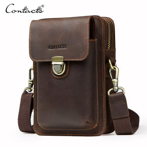 Top Quality Men Waist Pack Genuine Leather Vintage Travel Cell Phone Bag With Zipper Pocket Card Holder For Male Shoulder Bag