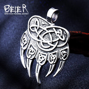 Beier stainless Steel Amulet Viking Slavic God Symbol Warding Veles Bear Paw Necklace Men