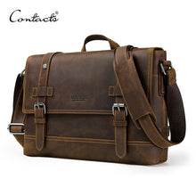 Load image into Gallery viewer, Genuine leather men's bag vintage man shoulder bags for laptop messenger bag male bolsa crossbody handbag