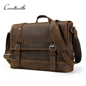 Genuine Leather Men's Vintage Shoulder Bag Cross Body Messenger Bags For Laptop Travel Lugage
