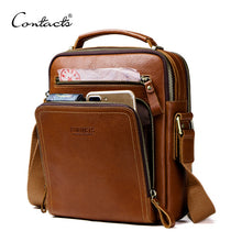 Load image into Gallery viewer, CONTACT'S casual men's messenger bags genuine leather shoulder bags for man luxury brand male crossbody bag fashion for ipad
